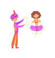 magician showing trick with levitating woman vector image vector image