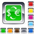 money exchange square button vector image vector image
