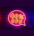 neon chat frame 40 off text banner night sign vector image vector image