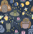 Night creatures seamless pattern vector image