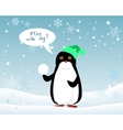 Penguin Animal in Hat and Snowball Play with Me vector image vector image