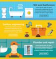 plumbing service banner horizontal set flat style vector image