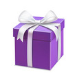 realistic purple gift box with white ribbon vector image