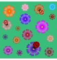 Seamless ladybugs and flowers vector image
