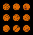 set basketball balls with different rotation vector image vector image
