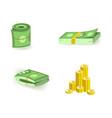 set cartoon bill money currency elements vector image vector image
