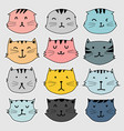 set of cute cat sticker vector image
