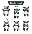 set of cute panda characters set 5 vector image