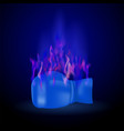 sport burning blue glove with fire flame vector image