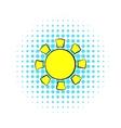 Sun icon comics style vector image