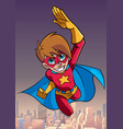 super boy flying sky background vector image vector image