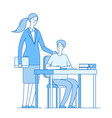 teacher and smart student young woman at desk vector image vector image