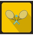 Tennis racket and ball icon flat style vector image vector image