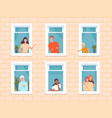 window people happy neighbourhoods characters vector image vector image