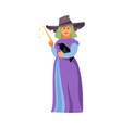 witch with raven vector image vector image