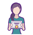 woman winner with diploma vector image