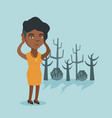 young african woman standing in a dead forest vector image vector image