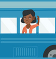 young african woman waving hand from bus window vector image vector image