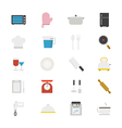 Cooking and Kitchen Utensil Flat Icons color vector image