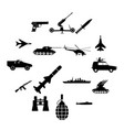 16 weapon simple icons set vector image