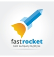 Abstract rocket logotype isolated on white vector image