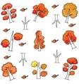 Autumn tree set of doodles vector image vector image