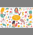 big colorful set sea animals and cute mermaids vector image