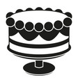 black and white birthday cake on stand silhouette vector image vector image