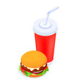 burger and soda isometric 3d vector image