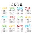 calendar planner happy new year 2018 vector image vector image