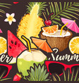 cocktail and exotic fruits seamless pattern vector image