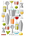 cocktail bar seamless pattern essential tools vector image vector image