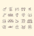 collection outline music festival related icons vector image