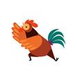 colorful rooster crowing farm cock cartoon vector image vector image
