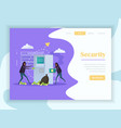 cyber security flat landing page vector image