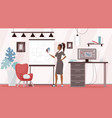 designer freelancer working from home workplace vector image vector image