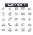 eating people line icons signs set vector image vector image