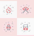 firefighter thin line icons set vector image