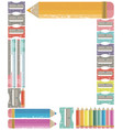 frame with colour pencils back to school concept vector image