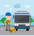 freighter service delivery carton truck boy vector image vector image