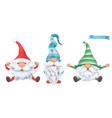 funny dwarfs christmas 3d cartoon characters set vector image