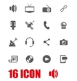 grey media icon set vector image