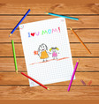 i love you mom colorful hand drawn vector image vector image