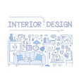 interior design set hand drawn furniture vector image vector image