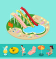 isometric aqua park with water slides and pool