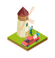 isometric mill farmers workers with bags of vector image vector image