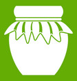 jam in glass jar icon green vector image vector image