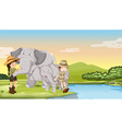 Kids and elephants by the river vector image vector image