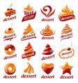 large set of logos desserts vector image vector image
