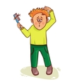 Little cartoon man with hair fall vector image